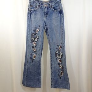 Z CAVARICCI Faded Embroidered Sequin Jeans Size 26